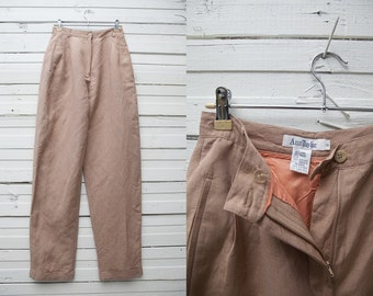 1980's Vintage Brown High Waist Cigarette Pants / Women Trousers / Size 6