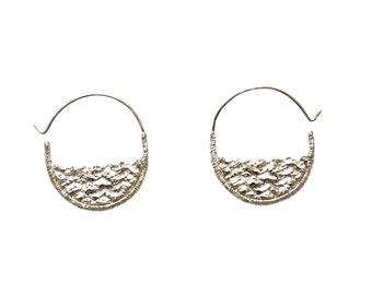 Water Earrings, Ocean Earrings, Waves Earrings, Half Circle Hoop Earrings, Textured Earrings, Small Silver Hoops, Geometric Earrings