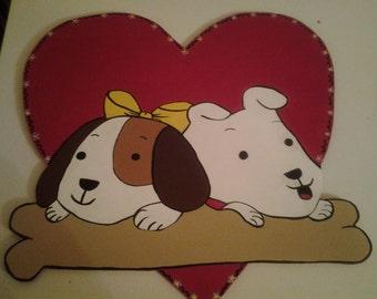Wooden handpainted Puppy in Heart Door Decor