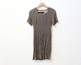 Minimal 90s Olive Textured Mini Dress