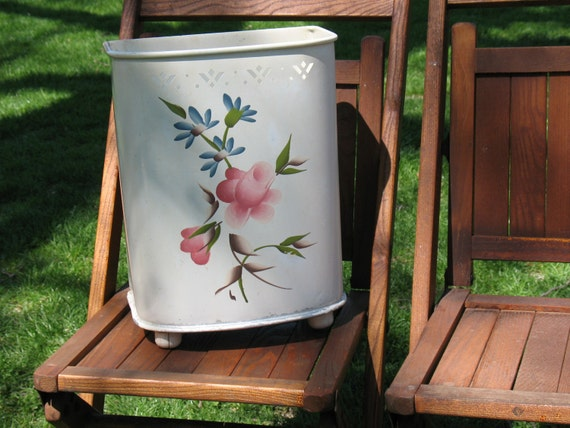 Vintage Tole Painted Metal Trash Can / Detecto By Oldstufflove