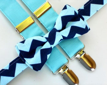 Kids bow tie and suspenders, chevron bow tie, blue suspenders, boys 1st birthday outfit, boys photo prop, cake smash outfit boy