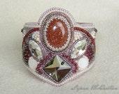 Gold sandstone bead embroidery bracelet