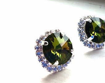 Olivine large crystal earrings, FREE shipping