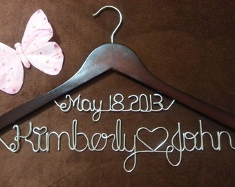 Personalized Custom Bridal Hanger,Brides Hanger,Personalized Bridal gifts,Wedding Hanger,personalized Two Lines Wedding Hanger