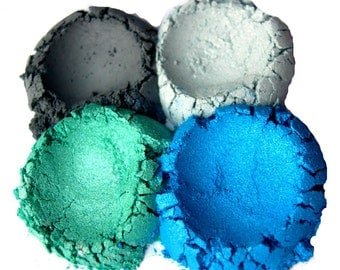 4pc BLUES Eyeshadow Mineral Makeup Collection Eye Color Set Natural Vegan Minerals