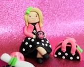 Fondant Cake Topper Girl, Polka Dot dress, 1qty Birthday girl, Choose colors - Birthday Cake, Wedding Cake or Bridal Shower