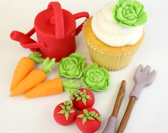 Edible Cupcake Toppers or Cake Topper  Garden Vegetables- 1 Watering Can , 1 shovel, 1 rake, 3 carrots, 2 tomatoes, 3 lettuce, 2 radish