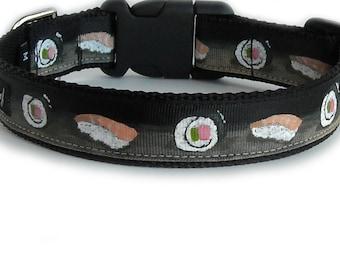 Sushi Dog Collar, Culinary Gift, Food Dog Collar or Cat Collar, Cute, Couture Dog Collar for Boy, Girl, Chef Gift, Small Dog Collar- Sushi