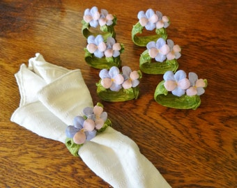 Vintage Ceramic Flower Napkin Rings - Set of 7 - Vintage Pink and Lavender Flower Napkin Rings - Retro Spring Table Decor -  Made in Taiwan