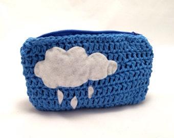Blue Crochet Coin Purse with Rain Cloud Zipper Pouch