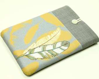 Tribal Feathers MacBook Air Pro Retina Sleeve, Macbook Laptop case , padded sleeve, front pocket, Custom Laptop cover, yellow and grey