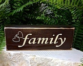 Family Wood Block Shelf Table Decor - Freestanding Brown and Cream Tan
