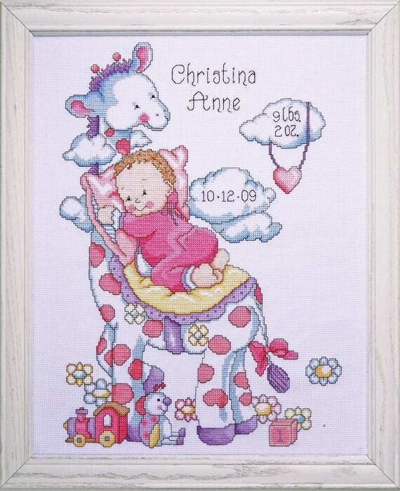 Cross Stitch Kit Tobin Giraffe Baby Birth Record