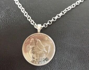 Canada Bird Necklace - 2005 Canada Coin Pendant with Chain - 2005 Saskatchewan Canado Coin Necklace