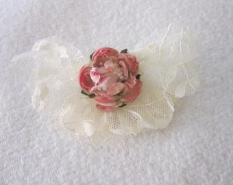 Vintage Pink Rose with White Lace Large Brooch Pin