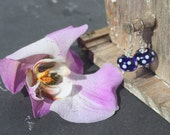 Cobalt Blue Spotty Earrings (Transparent)