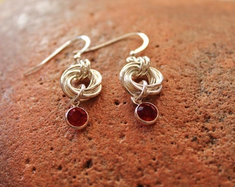 Handmade Sterling Silver Chainmaille Rosette Earrings with Swarovski Red Drop Dangles