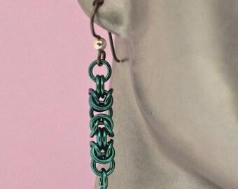 Handmade Niobium Chainmaille Byzantine Earrings with Swarovski Crystal Dangles