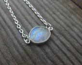 Petite Blue Flashed Moonstone Bracelet - Simple Moonstone Bracelet - Simple Jewelry - Rose Cut Moonstone