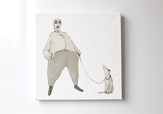 Dog illustration print on canvas Animal art Print art Pet Lover Pastel Gray Beige Ivory White color