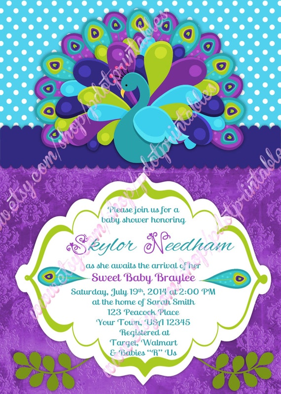 peacock baby shower invitation 4x6 or 5x7 by pdotprintables