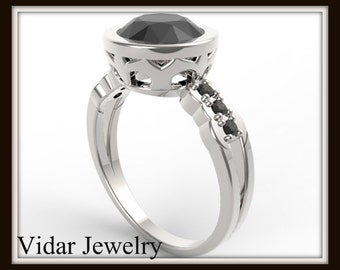 Black Diamond Engagement Ring,2 Carat Black Diamond Ring,Unique Engagement Ring,Custom Engagement Ring,Vidar Jewelry