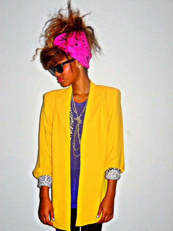 SALE***70's Classic Vintage Nordstrom Electric Yellow Open Blouse Blazer/REDUCED