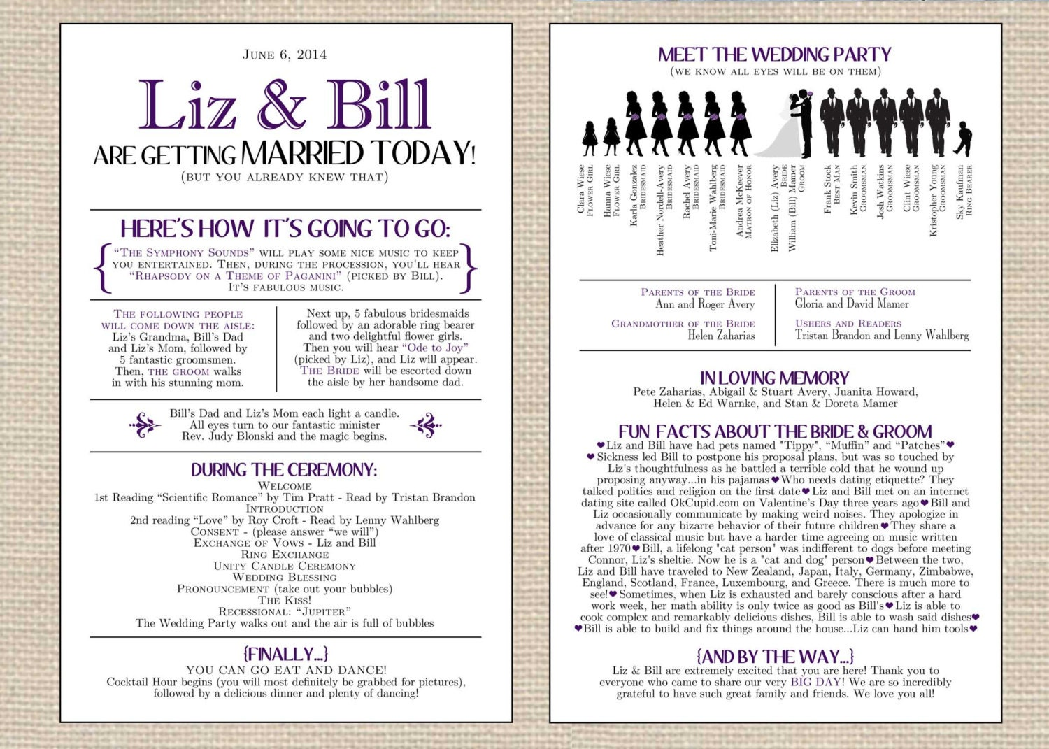 Silhouette Wedding Program Funny Unique By Primroseandpark