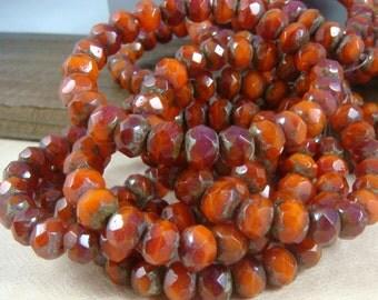 Czech Beads, 8x6mm Rondelle, Czech Glass Beads - Orange and Fuchsia Mix (R8/RJ-1427) Sunset Mix - Qty. 12