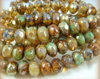 8x6mm Rondelle, Czech Glass Beads -  Champagne, Amber and Turquoise Mix (R8/N-0042), Assorted Rondelles - Qty. 25