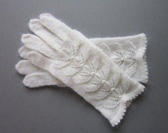 Hand Knit Gloves White Wool Gloves For Women Knit Fingrless Gloves Womens Gifts  Handmade Gloves Wool Gloves Fingerless Gloves