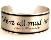 Cheshire Cat We're All Made Here, Alice in Wonderland, Silver Literature Book Jewelry, Lewis Caroll