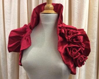 Valentine Red 100% Silk Bridal Wedding Wrap Ruffled Shrug with Rose Trim .