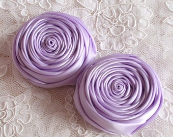 2 Handmade Rolled Roses (2-3/4 inches) in Lt orchid MY-016 - 192 Ready To Ship
