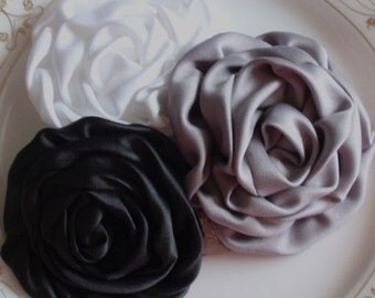 3 Handmade Fabric Roses  In 3 inches MY- 193-08 Read to Ship