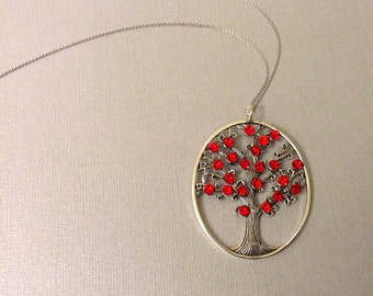 Tree of Life Necklace with Beautiful Red Swarovski Crystals