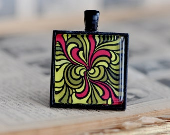Black pendant with abstract art