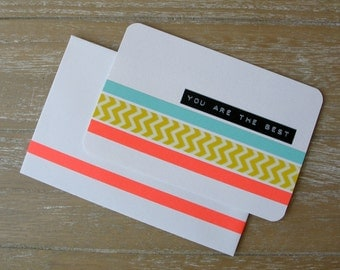 Postcard - You Are The Best - Chevron - Washi Tape - Dymo Label - Handmade