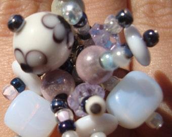 Elegant White Glass Bead Ring