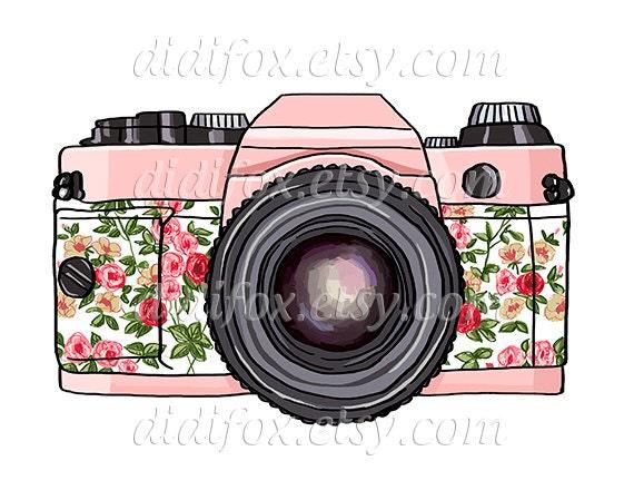 Retro Pink Photo Camera Floral Print Printable Digital