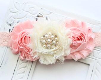 Shabby Flower Lace Headband with Pearl & Rhinestone Center - Light Peach or Blush and Ivory Headband - Baby Girl Headband, Newborn, Adult