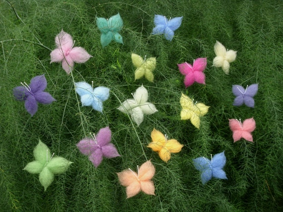 Wool Butterflies, Set of 16, Rainbow Colors, Nursery, Birthday or Easter Decor, Waldorf