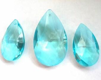 3pc Set Teardrop Crystals for Princess Crowns Light Aqua 38mm and 50mm Chandelier Prisms