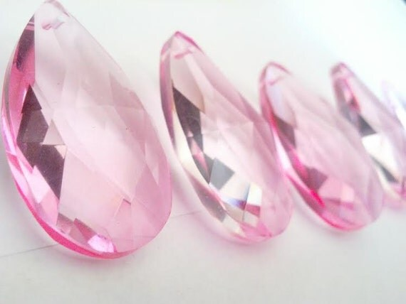5 Pink Teardrop 50mm Chandelier Crystal Prisms Almond