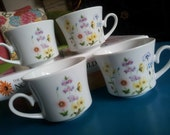 Beautiful 4 Piece Set of Fine China, Wildflower Vanessa Mugs, Perfect for Spring Coffee, Summer Garden Tea Cups, Jardin JAPAN, Lovely GIFT