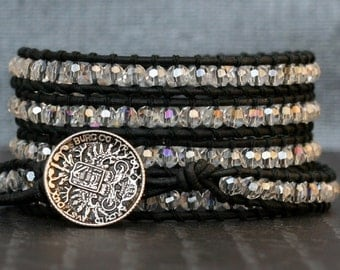 wrap bracelet- clear aurora borealis crystal on black leather- beaded leather 5 wrap bracelet - boho glam bohemian