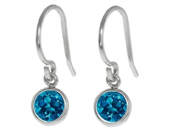 1 Carat London Blue Topaz Bezel Round Dangle Earrings .925 Sterling Silver Rhodium Finish