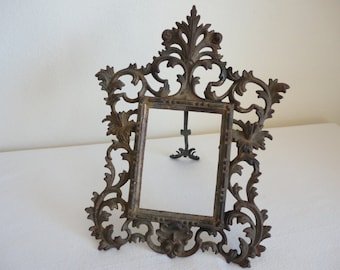 Vintage Tabletop Reticulated Picture Frame / Mirror
