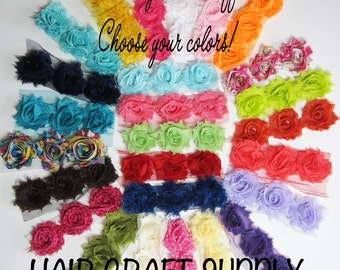 24 Mini Shabby Flowers - CHOOSE your COLORS